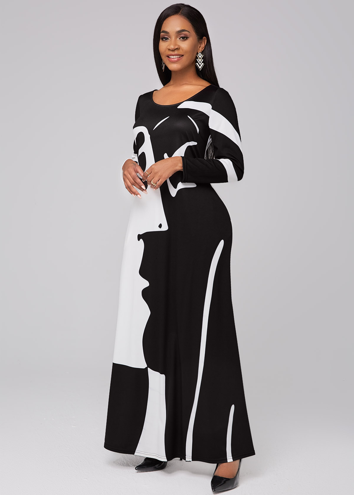 Round Neck Pocket Graffiti Print Maxi Dress