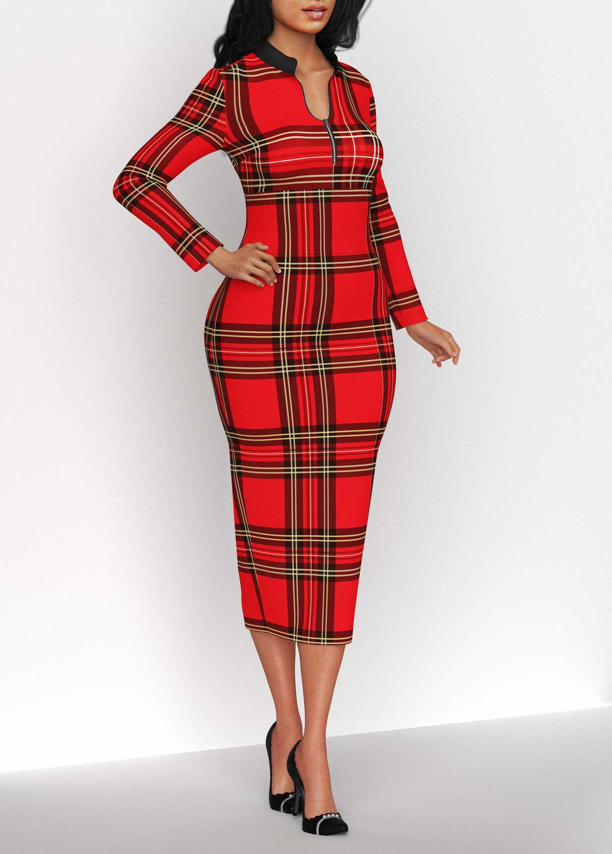 Plaid Long Sleeve Quarter Zip Dress