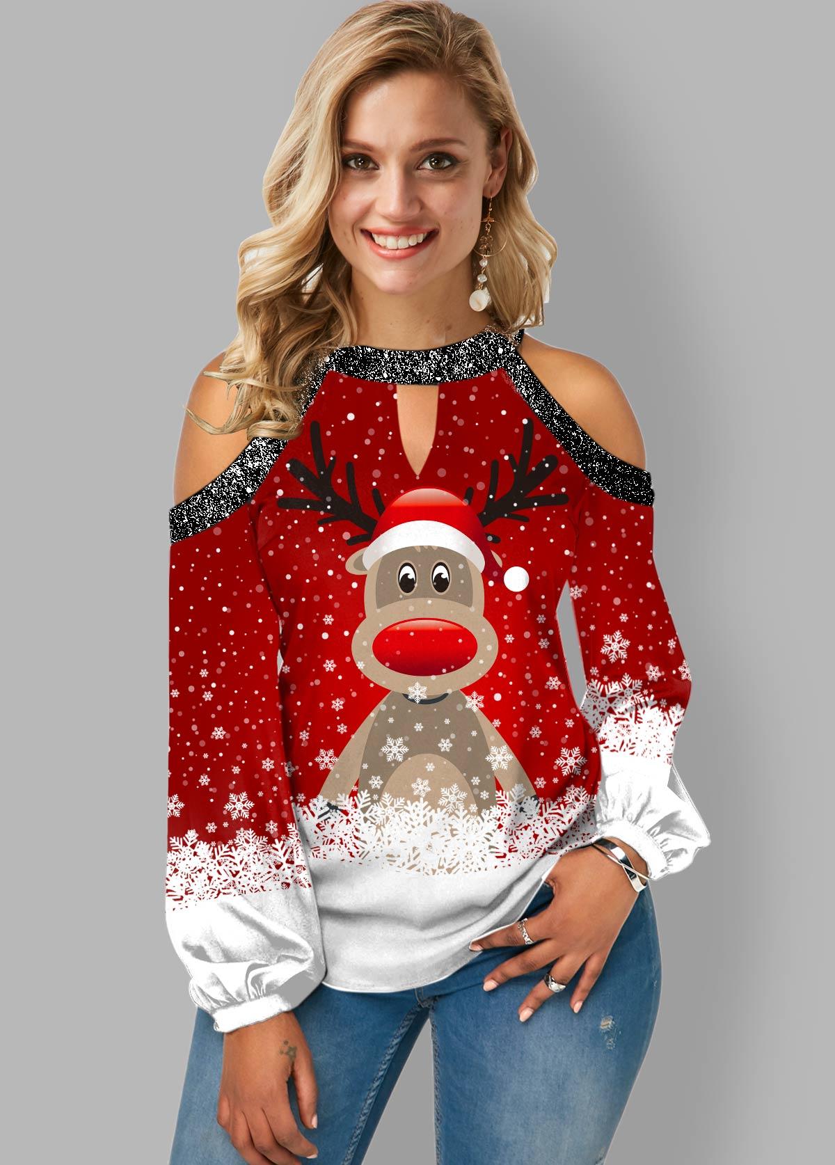 Christmas Print Cold Shoulder Shining Plus Size Blouse