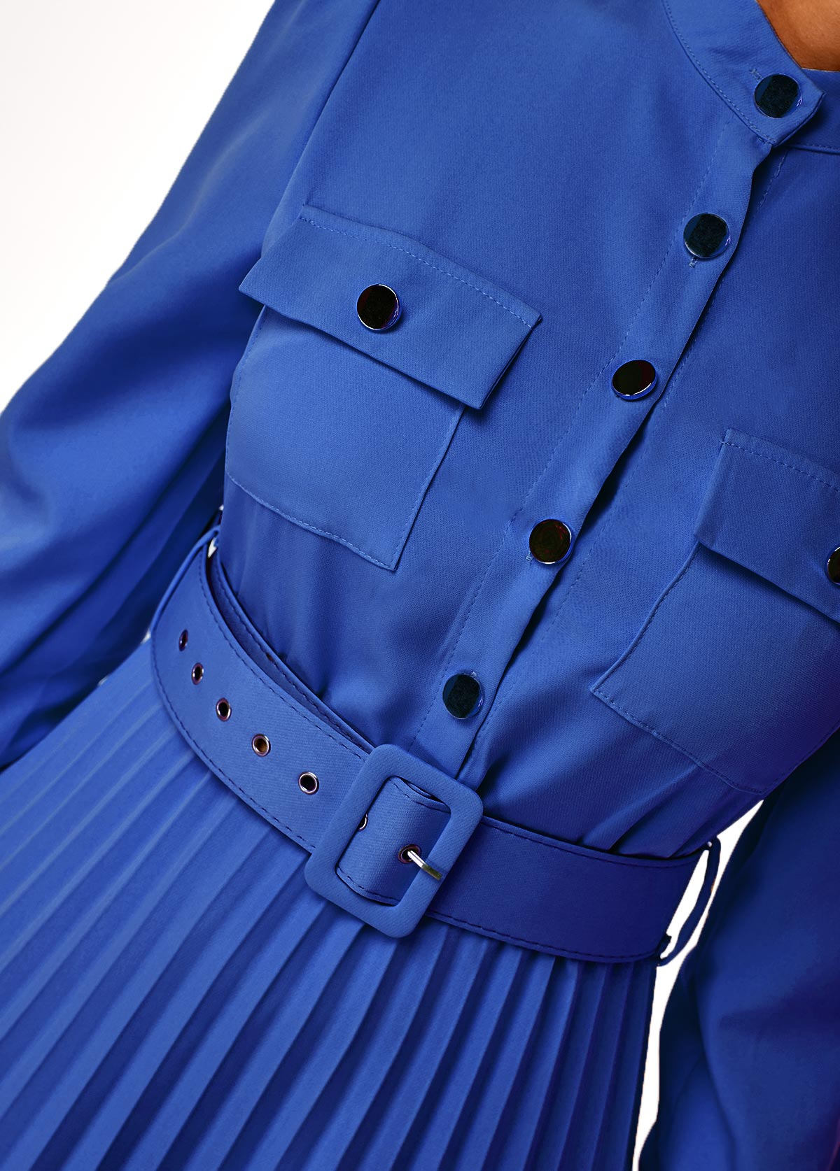 Pleated Hem Button Up Buckle Belted Dress