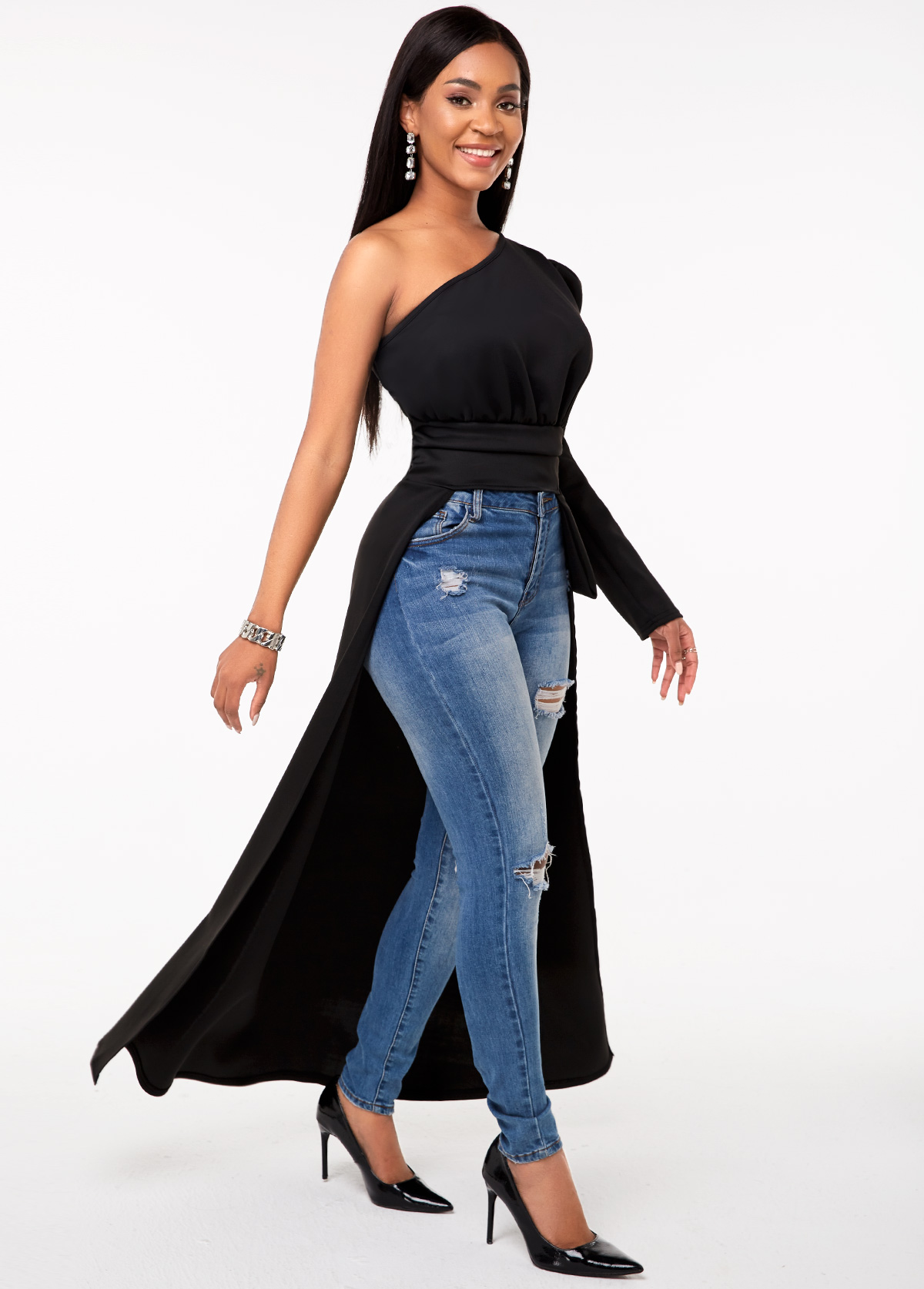 High Low Hem One Shoulder Long Sleeve T Shirt