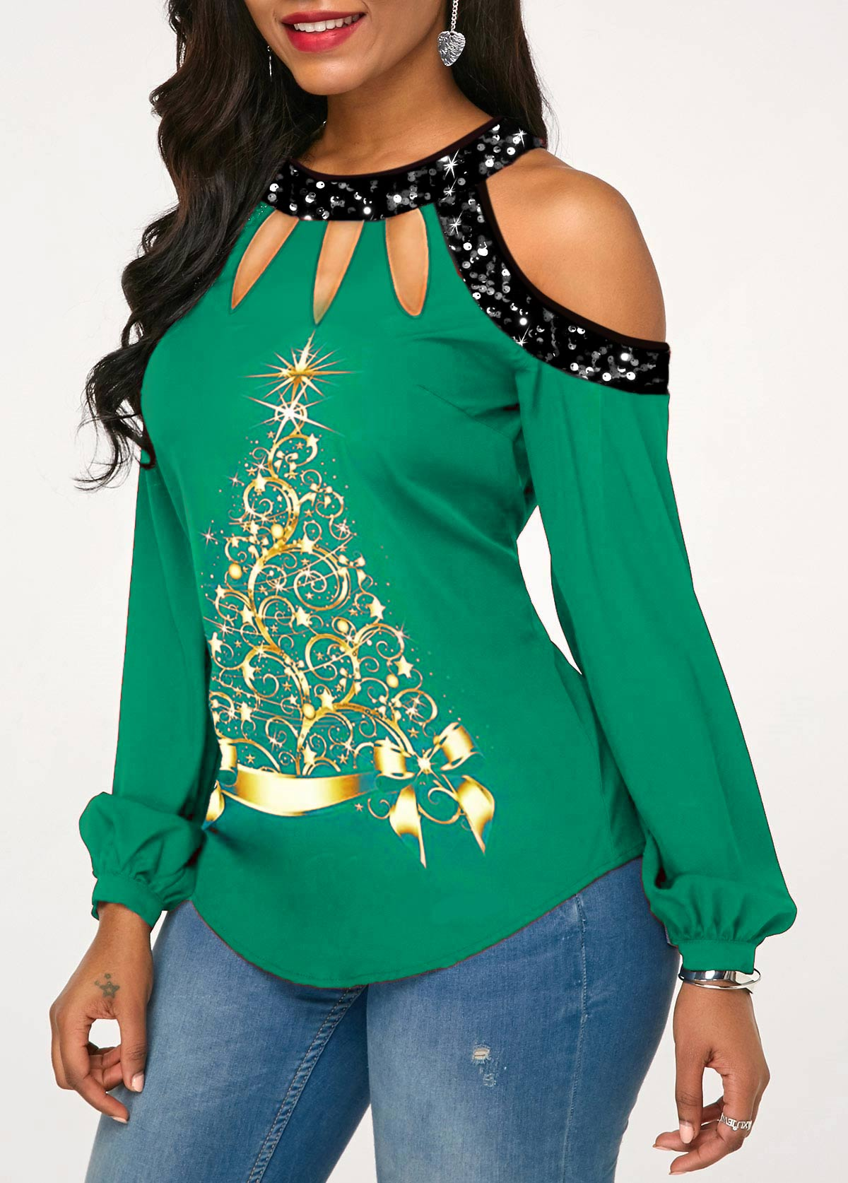Sequin Christmas Tree Print Cold Shoulder T Shirt