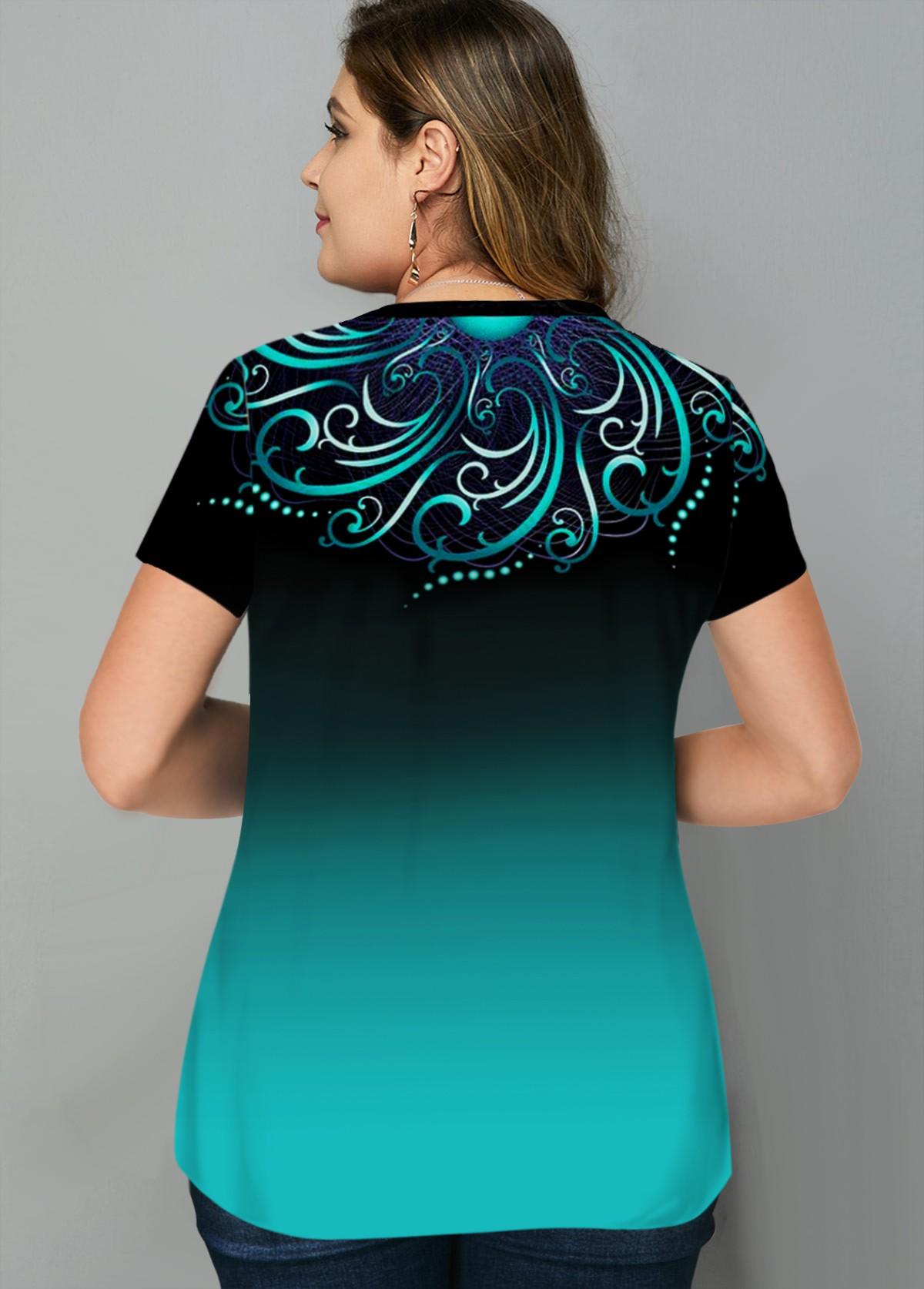 Tribal Print Ombre Plus Size T Shirt