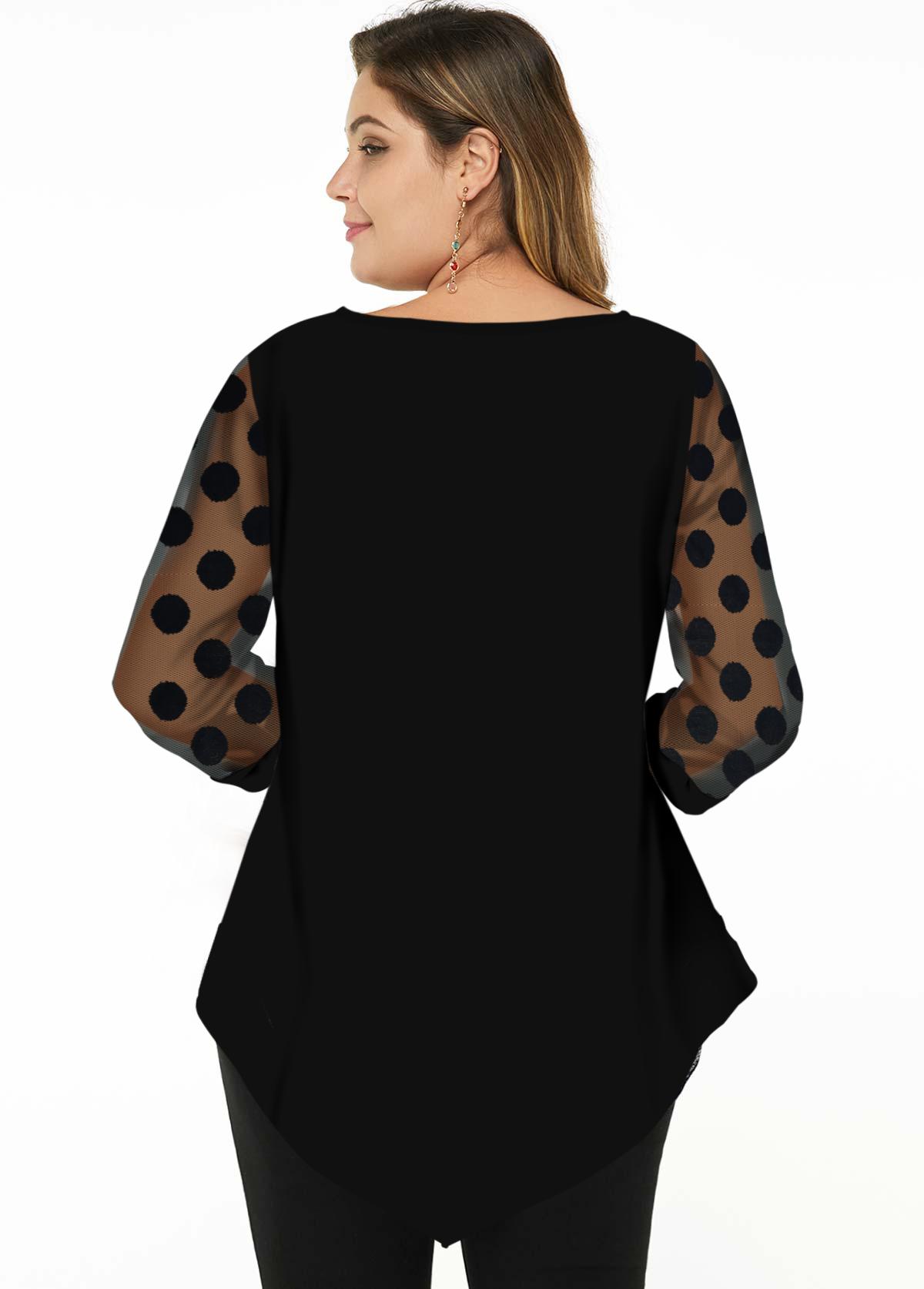 Asymmetric Hem Mesh Stitching Plus Size Blouse