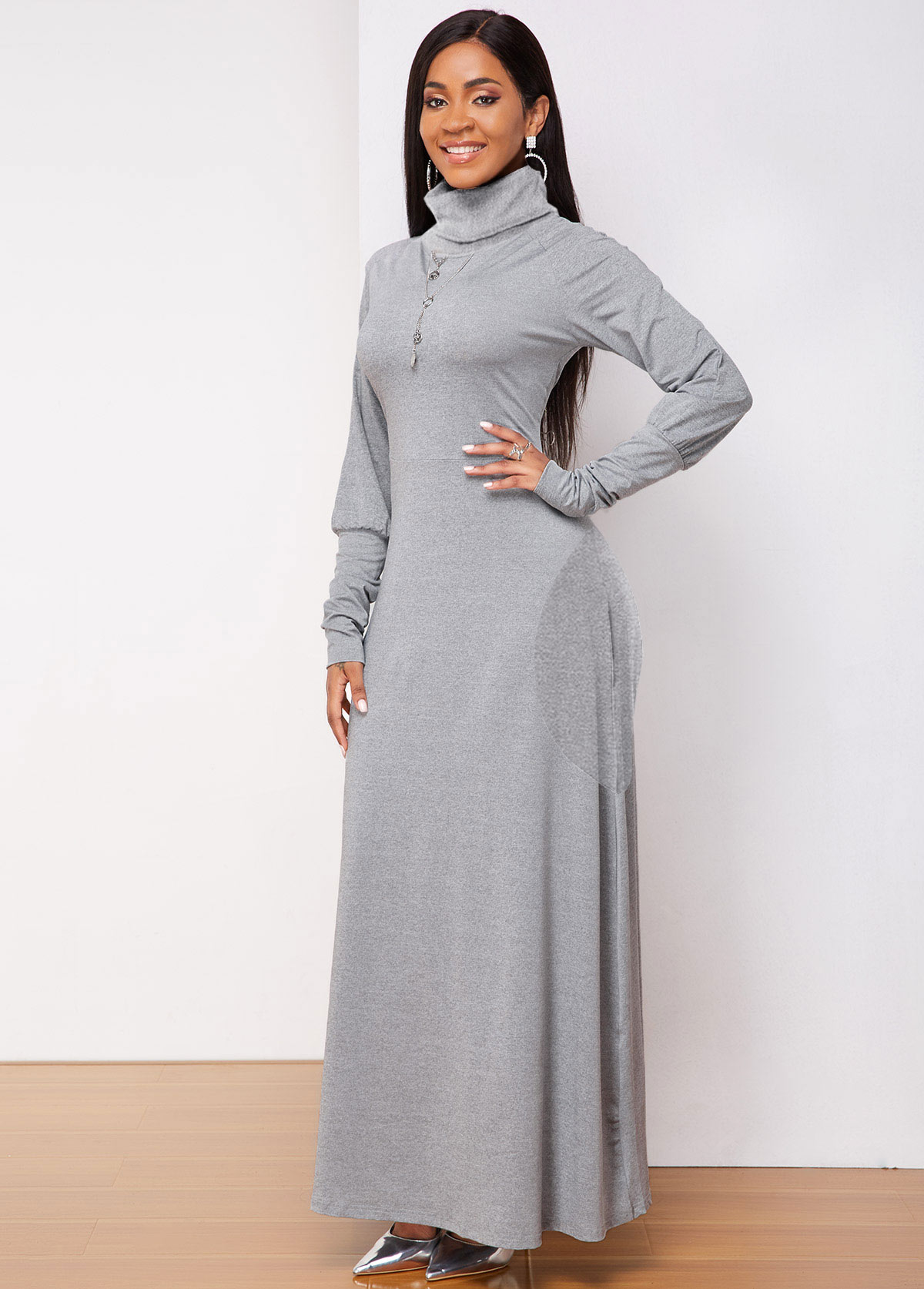 Side Pocket Turtleneck Long Sleeve Dress
