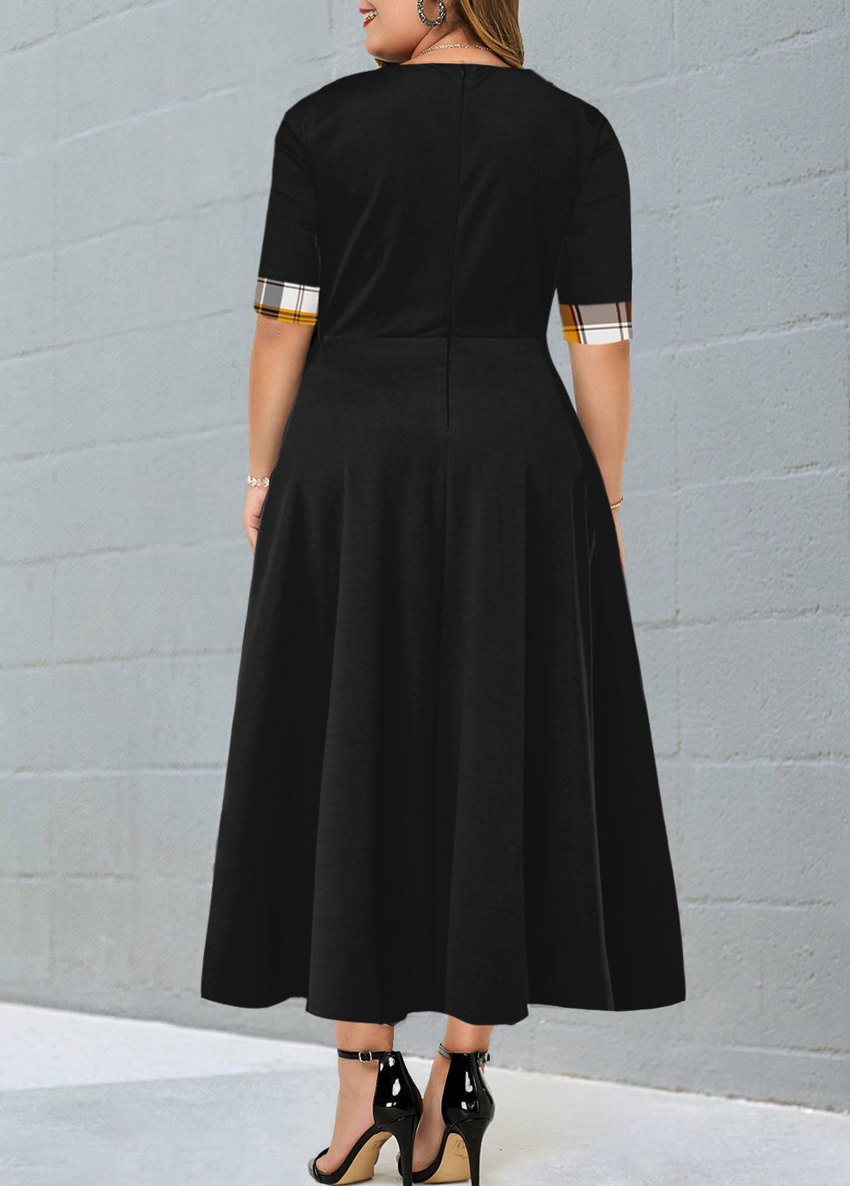 Plaid Contrast Plus Size Maxi Dress