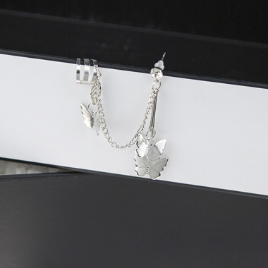 Silver Butterfly Design Metal Earring Set