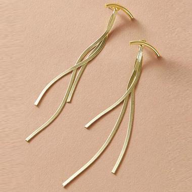 Gold Chain Tassel Metal Earring Set