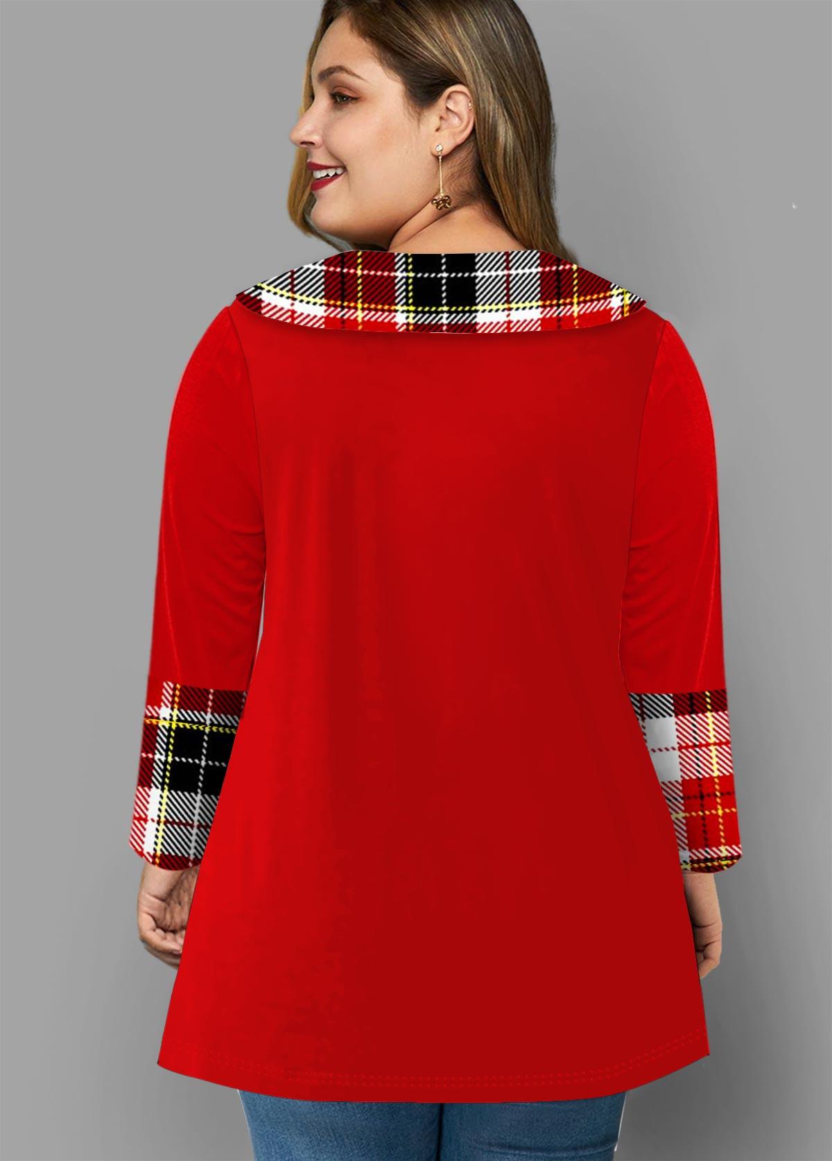 Button Detail Plaid Contrast Plus Size T Shirt