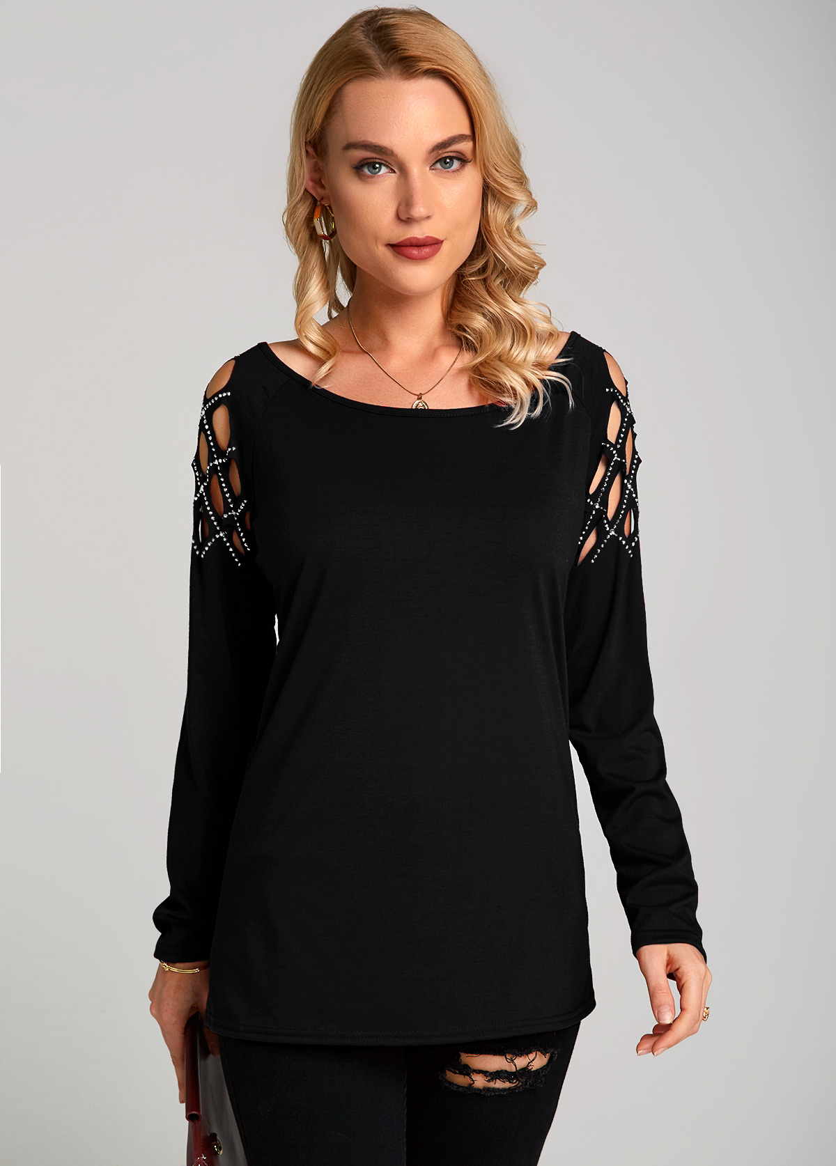 Hollow Out Shoulder Hot Drilling T Shirt