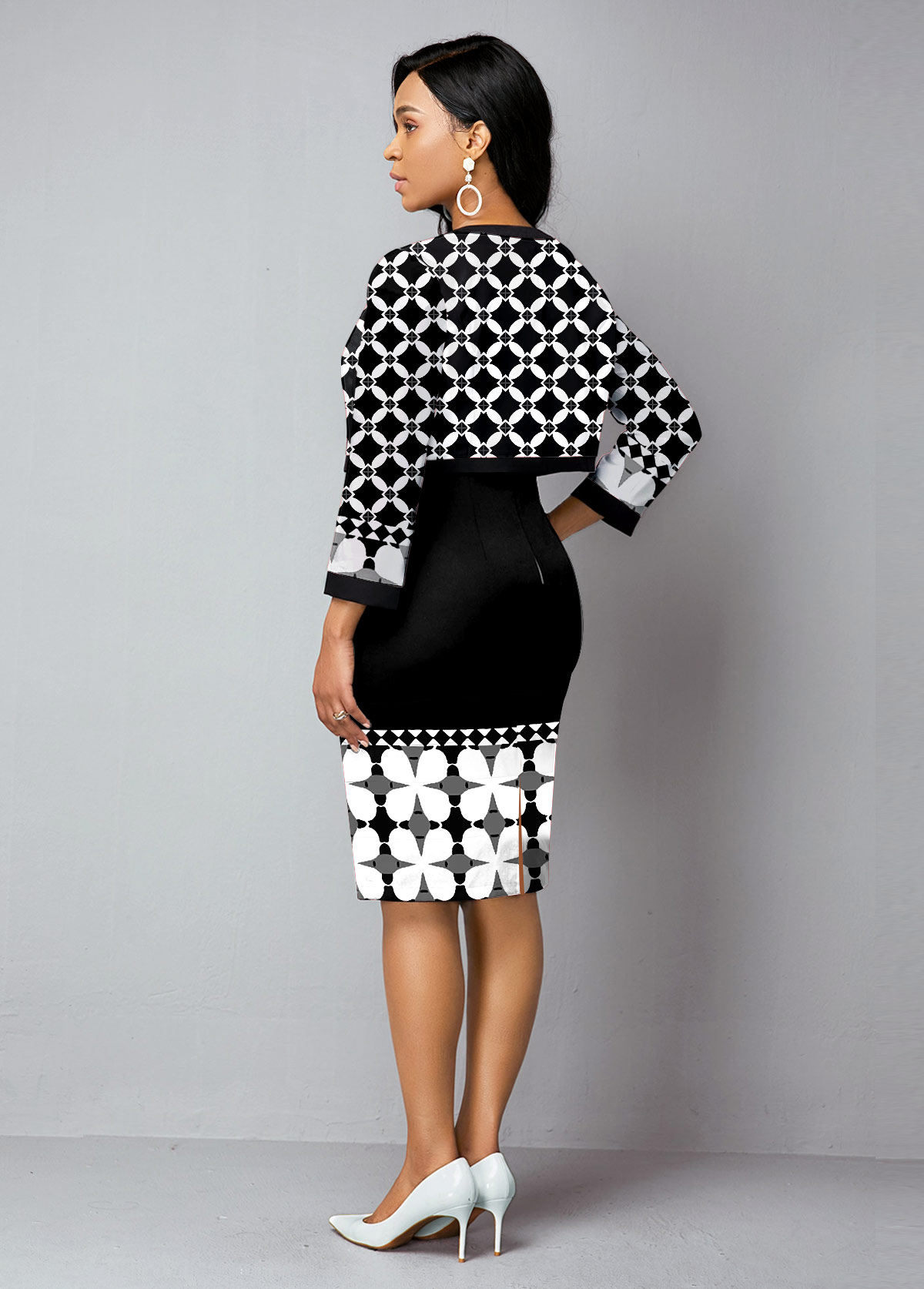 Open Front Tribal Print Cardigan and Sheath Dress