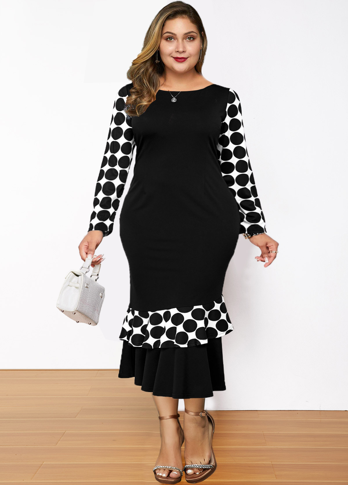 Polka Dot Ruffle Hem Plus Size Dress