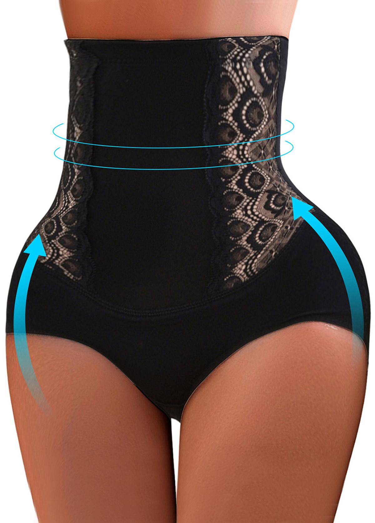 Black Embroidered High Waist Shapewear Panty