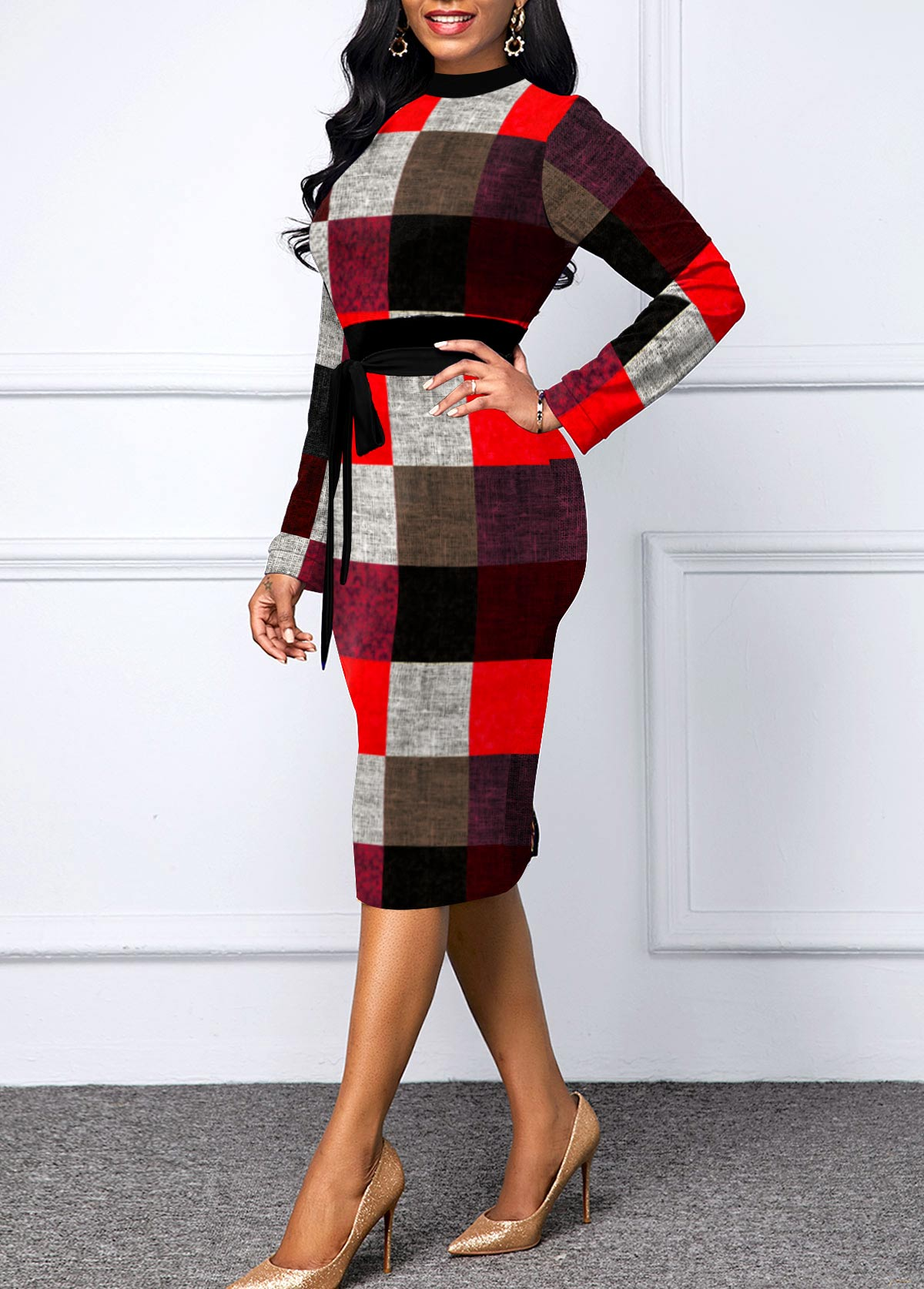 Plaid Long Sleeve Belted Sheath Dress