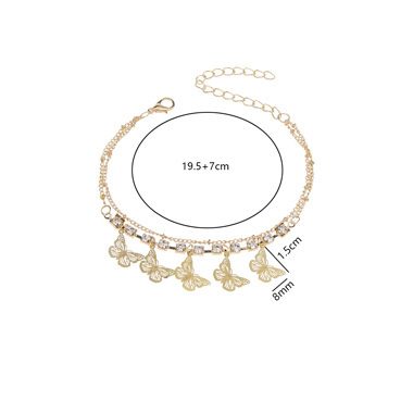 Butterfly Rhinestone Detail Gold Metal Anklet