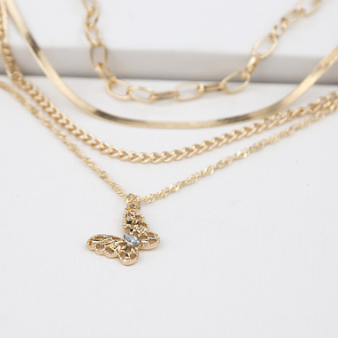 Butterfly Layered Gold Metal Necklace