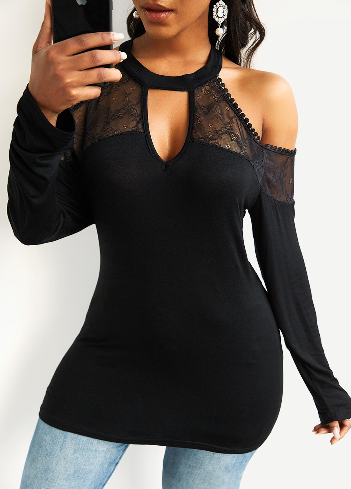 Long Sleeve Cold Shoulder Lace Stitching T Shirt