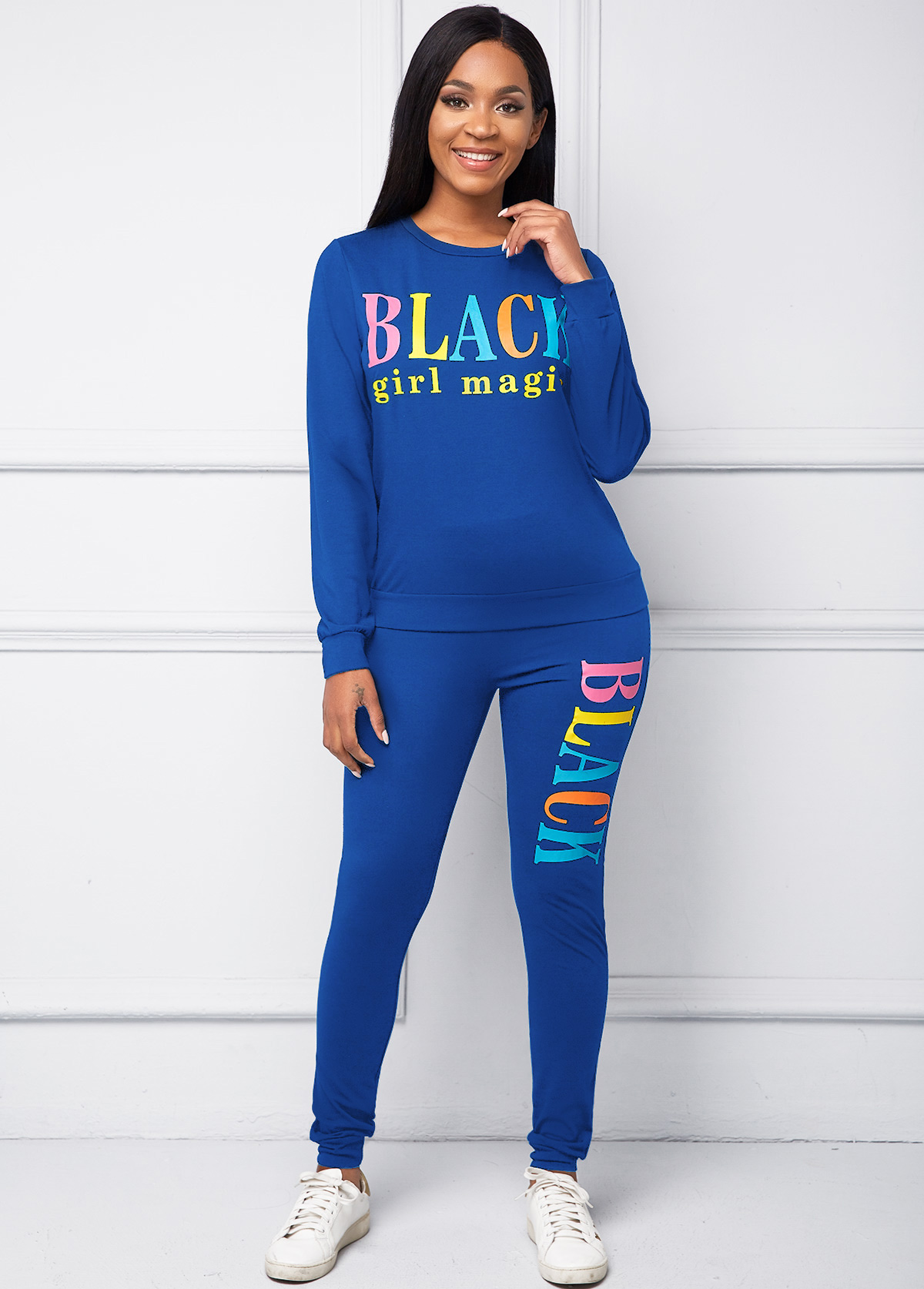 Letter Print Round Neck Long Sleeve Top and Pants