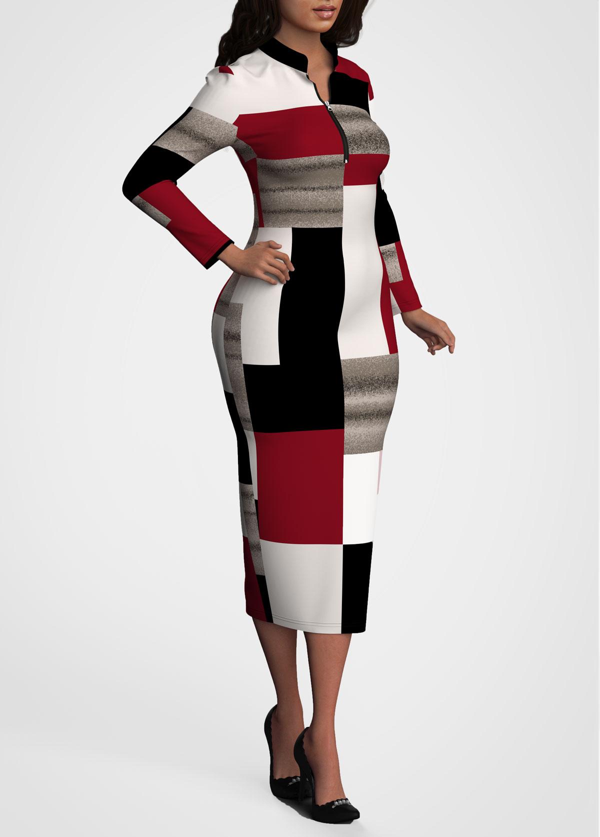 Long Sleeve Contrast Quarter Zip Dress