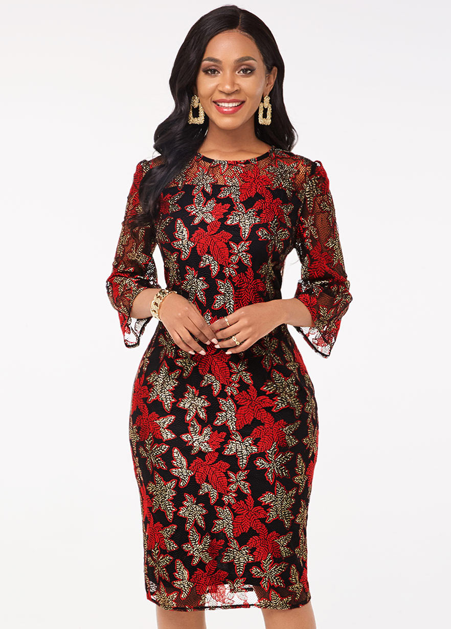 3/4 Sleeve Lace Stitching Round Neck Dress