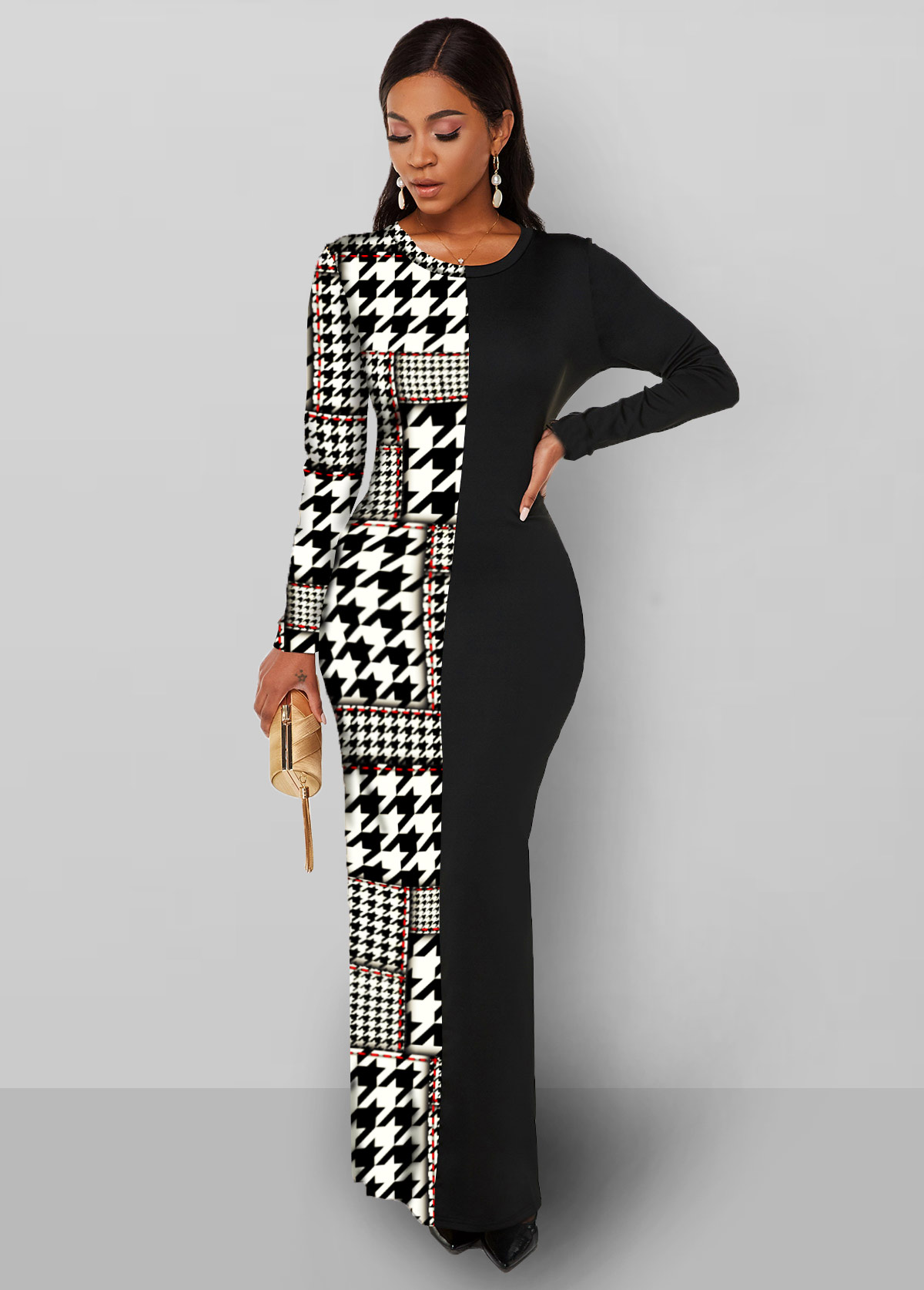Round Neck Houndstooth Print Long Sleeve Dress