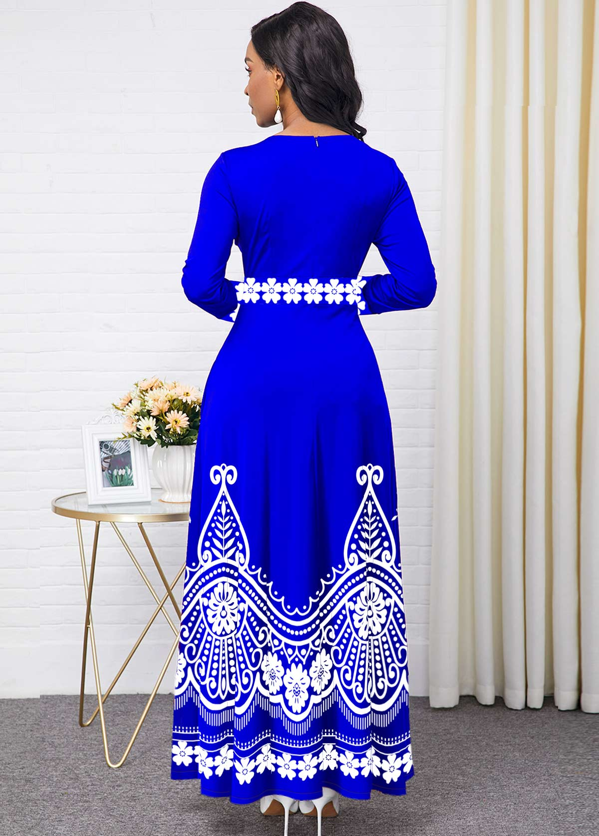 Round Neck Pocket Tribal Print Maxi Dress