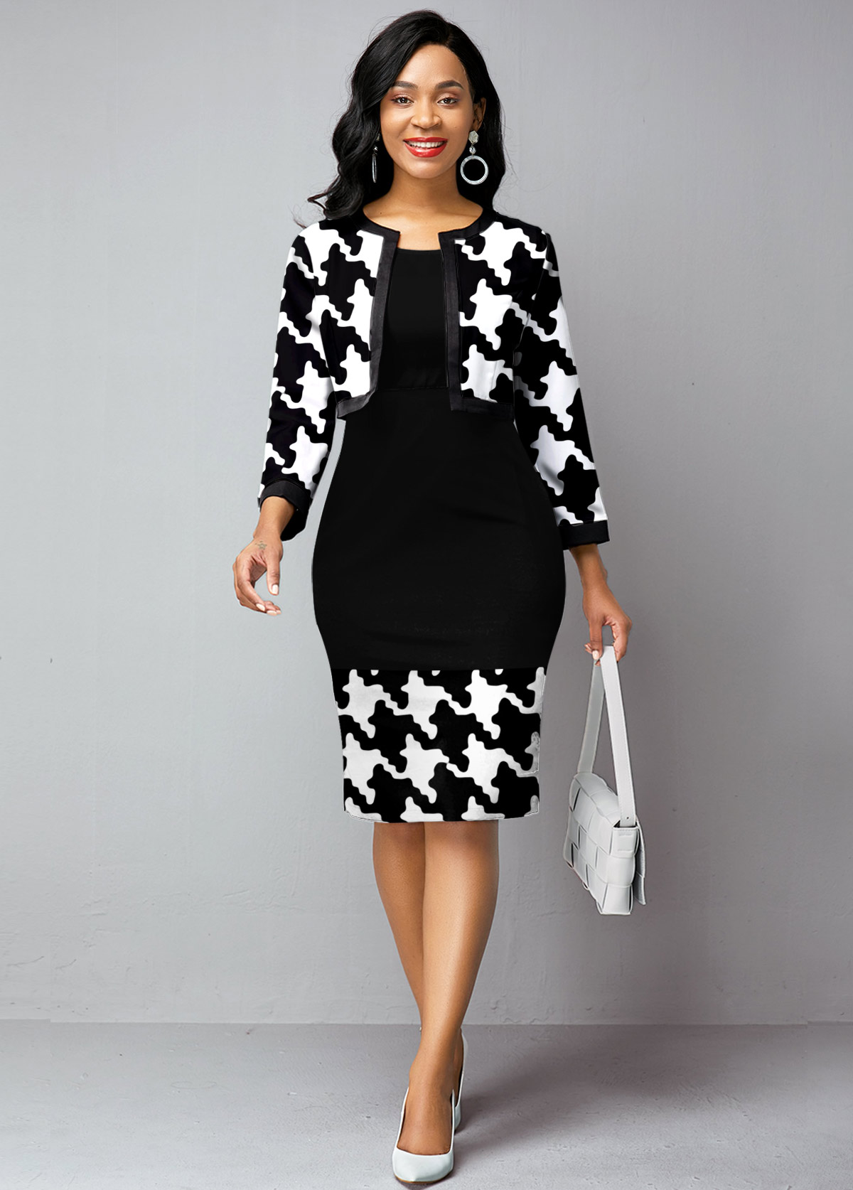 Houndstooth Print Open Front Cardigan and Dress