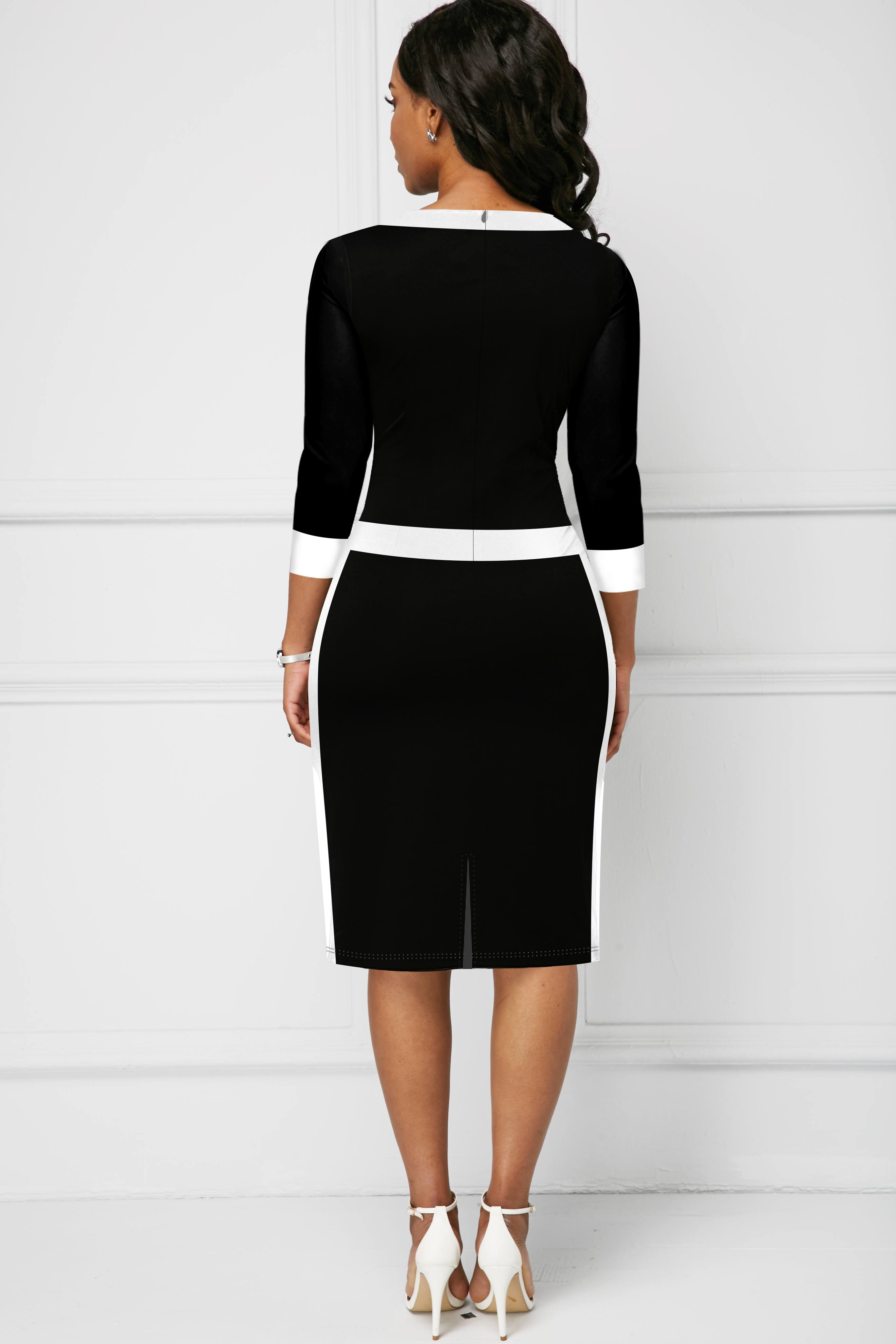 Bowknot Contrast Piping 3/4 Sleeve Dress