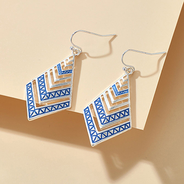Metal Rhombus Design Blue Earring Set