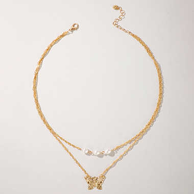 Metal Layered Butterfly Pearl Detail Necklace