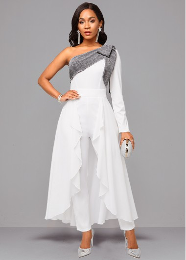 Rosewe coupon: Rosewe White One Sleeve Tie Side Jumpsuit - M