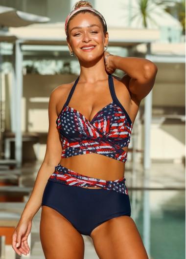 Rosewe American Flag Print Tie Back Bikini Set - L