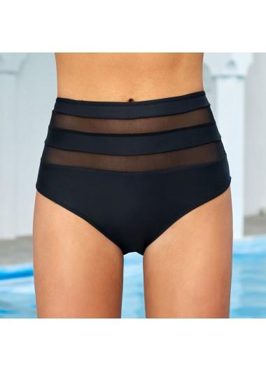 Black Mid Waist Mesh Stitching Swimwear Panty