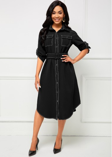 Rosewe Black Dresses Contrast Stitch Pocket Turndown Collar Dress - XXL