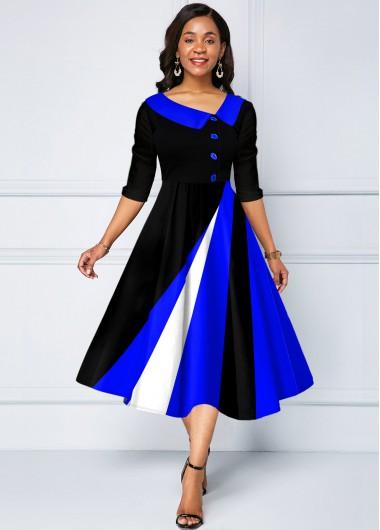Contrast Geometric Print Decorative Button Dress