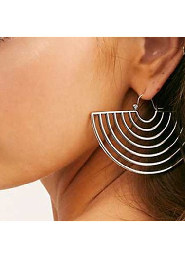 Rosewe coupon: Mother's Day Gifts Hollowed Silver Metal Semicircular Design Earring Set - One Size