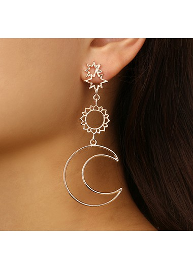 Rosewe coupon: Mother's Day Gifts Asymmetric Star Moon Sun Design Hollowed Earring Set - One Size