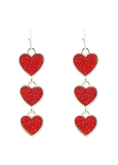 Rosewe coupon: Mother's Day Gifts Red Metal Heart Design Earring Set - One Size