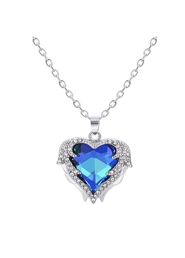 Rosewe coupon: Mother's Day Gifts Heart Pendant Rhinestone Detail Metal Necklace - One Size