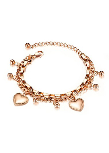 Rosewe coupon: Mother's Day Gifts Heart Design Layered Gold Metal Bracelet - One Size
