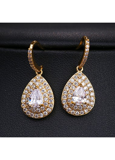 Rosewe coupon: Mother's Day Gifts Water Drop Shape Rhinestone Detail Earring Set - One Size