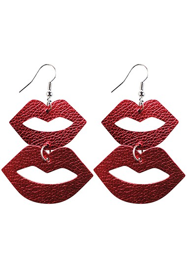 Rosewe coupon: Mother's Day Gifts Red Lip Shape Faux Leather Earring Set - One Size