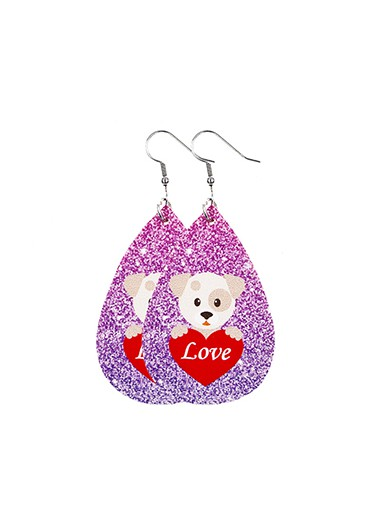 Rosewe coupon: Mother's Day Gifts Shining Faux Leather Pet Pattern Earring Set - One Size