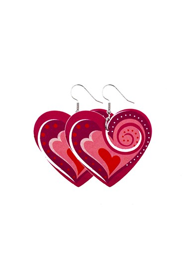 Rosewe coupon: Mother's Day Gifts Heart Shape Red Faux Leather Earring Set - One Size