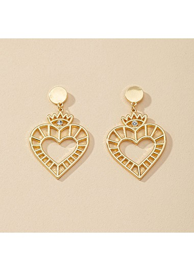 Rosewe coupon: Mother's Day Gifts 1.2 X 2.0 Inch Gold Heart Metal Earring Set - One Size