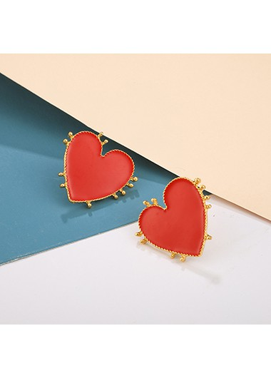 Rosewe coupon: Mother's Day Gifts Red Heart Shape Earring Set for Women - One Size