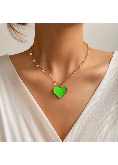 Rosewe coupon: Mother's Day Gifts Star Metal Green Heart Pendant Necklace - One Size