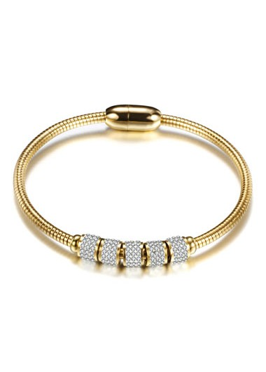 Rosewe coupon: Mother's Day Gifts Gold Metal Rhinestone Detail Bangle - One Size