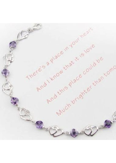 Rosewe coupon: Mother's Day Gifts 8.3 Inch Heart Design Amethyst Bracelet - One Size