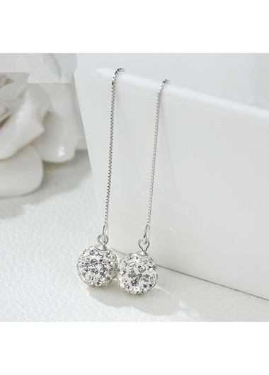 Rosewe coupon: Mother's Day Gifts Chain Tassel Silver Shambhala Ball Earring Set - One Size
